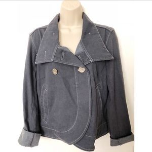 Micheal Kors Denim Cropped Buttoned Jacket
